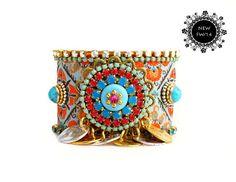 OOAK FW/14 Luxury Native Swarovski Crystal Friendship Bracelet Jewelry Cuff,bohemian indian gypsy style,Ethnic boho aztec fashionista