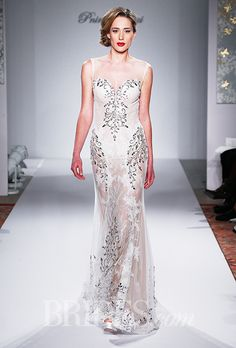 An embroidered, sheer #weddingdress | Brides.com