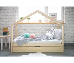 Wooden House Bed With Drawer Toddler Size House Beds For Kids, Toddler House Bed, Nursery Furniture, Home Furniture, Bed Frames Uk, Big Sofas, Bed With Drawers, European Furniture, Furniture Market