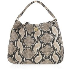 Tory Burch Kellan python-effect leather shoulder bag ($357) ❤ liked on Polyvore featuring bags, handbags, shoulder bags, women, genuine leather purse, leather purses, brown leather purse, brown leather handbags and brown handbags