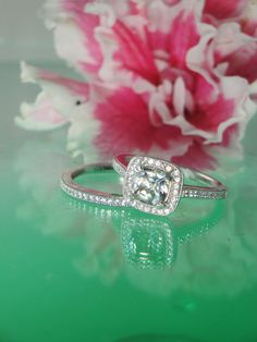 Herkimer Diamond Engagement Ring Square Cushion  and by greengem