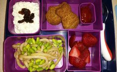 Kid Bento Lunch -cottage cheese w/ raisins -fish nuggets and ketchup -rice noodles w/ edemame -strawberries