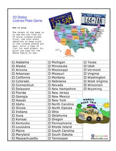 License plate game is a great way to pass the time during a car ride. Car Ride Games, Car Ride Activities, Travel Activities, Road Trip With Kids, Family Road Trips, Travel With Kids, Family Vacations, Beach Trip, Vacation Trips