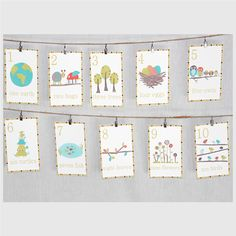 Alphabet  Wall Cards - Nature Themed 5x7 English Alphabet Wall Cards for her reading nook