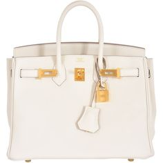 Pre-Owned Hermes 25cm Birkin Craie Gold Hardware (1.114.530 RUB) ❤ liked on Polyvore featuring bags, handbags, craie, genuine leather handbags, white handbags, leather handbags, pocket purse and real leather handbags