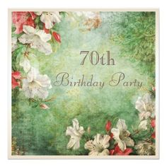 """70th Birthday Party Shabby Chic Hibiscus Flowers 5.25"""" Square Invitation Card Women's 70th birthday party invitations. Affordable square personalized custom seventieth / seventy / 70 birthday party celebration invitations for women with a beautiful, elegant, white and red tropical hibiscus flowers shabby chic altered art collage on a stylish faded vintage damask pattern background. Classy, fashionable, trendy invites with a sophisticated, romantic, vintage elegance look. The invitations are…"""