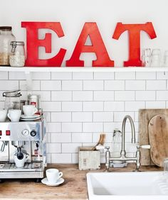 EAT red kitchen letters