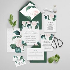 Elegant Bohemian Decor: Pink and green floral invitations by The Fabled Pa...