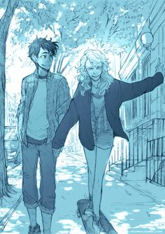 Percy taught Annabeth how to skate // Art by May
