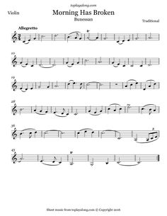 Morning Has Broken (Bunessan). Free sheet music for violin. Visit toplayalong.com and get access to hundreds of scores for violin with backing tracks to playalong.