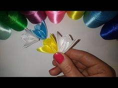 Лепесток - мотылек #2 Канзаши, мастер класс\ DIY \ サテンリボンの花\ Flower of satin ribbons - YouTube