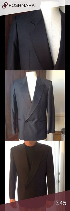 """Vtg Peak Lapel Sparkly Pin Stripe Tuxedo Jacket 40 Fab vintage Tuxedo Jacket. Black (color is dark black - only looks lighter in photos) double breasted with peak lapels. Has a sparkly pin stripe pattern. Fully lined with no back vent. Great condition. Chest 43"""" Length 29 1/2"""" Sleeves 24 1/2"""" Fabric is wool/ poly. Vintage Suits & Blazers Tuxedos"""