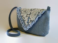 Denim and Lace Messenger Bag Blue Jean by SuzqDunaginDesigns