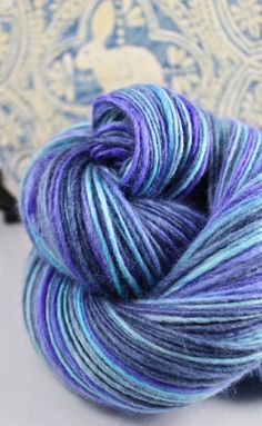 Handspun Yarn Gently Thick and Thin Single Blue by SheepingBeauty