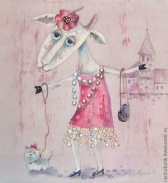 Гламурная Козочка( батик панно) РЕЗЕРВ - розовый,коза,гламур,мода,стиль