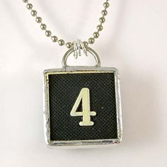 Number 4 Pendant Necklace by XOHandworks $20