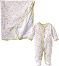 Vitamins Baby Baby-Girls Floral Coverall and Blanket, Green, 3 Months Vitamins Baby