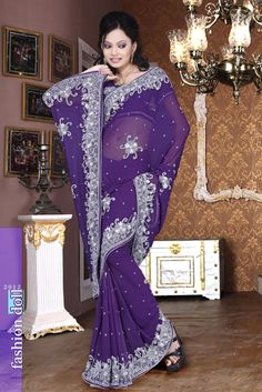 Navy Blue Faux Georgette Festival Saree 15984 With Unstitched Blouse