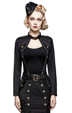 Nouveau produit : Veste bolero noir femme avec sangles d'attaches militaire retro pinup  Punk Rave Vous aimez ? / New product do you like ? Prix: 42.90 #new #nouveau #japanattitude #bolero #pinup #militaire #punk #rave #punkrave #femme #noir #veste #sergent #retro #pin #up #sangles #t456 #etoile #sexy #woman #black #jacket #military #sergeant #straps #t-456 #star