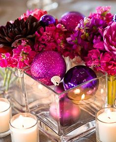 Pink and red christmas ornaments  | Pink and Purple Glam Centerpiece