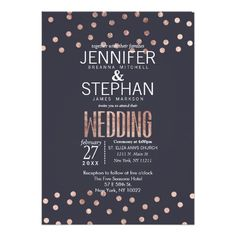 Shop Rose Gold Polka Dots Light Navy Blue Wedding Invitation created by I_Invite_You. Formal Wedding Invitations, Wedding Invitation Design, Wedding Themes, Wedding Cards, Wedding Ideas, Wedding Fun, Wedding Paper, Destination Wedding, Wedding Inspiration