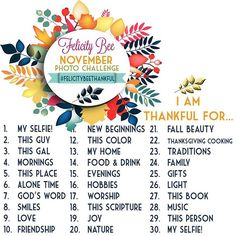 This year I am hosting a 30-Day Gratitude Photo Challenge on Instagram and I would love for you to join me starting November 1st. .  The challenge is simple —snapphotos 📷of the items listed in order to stay accountable and thankful every day. .  Use the hashtag #FelicityBeeThankful  in each post to be entered to win 30 Days to NO FEAR; a devotional journal. There will be one winner each week of the challenge!