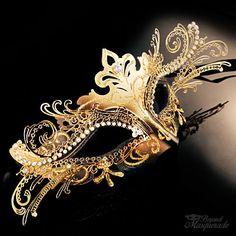 Corte Laser 3D Mardi Gras Veneziano Máscara Masquerade para mulheres [Dourado/Preto]   Roupas, calçados e acessórios, Fantasias e roupas de figurino, Acessórios   eBay!