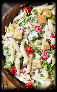 Chicken Caesar Pasta Salad with an easy and creamy homemade Caesar dressing