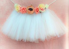 Stunning Luxury floral and white tulle banner/ highchair garland / cake smash prop/ birthday bunting/ highchair skirt/ tutu