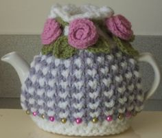 lavender grey and pink  hand knitted crocheted by peerietreisures