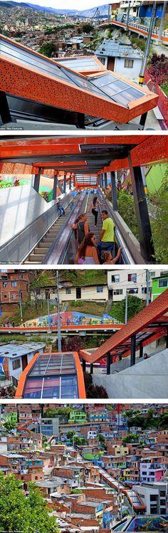 Outdoor escalators, Medellín, Colombia. Visit the slowottawa.ca boards >> https://www.pinterest.com/slowottawa/