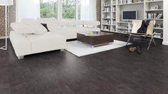 """Sie brauchen noch den passenden Boden zu Ihrem neuen Fernseher? Die Hometrend Designboden-Kollektion """"Ela LG perfekt"""" beinhaltet acht schicke, ungewöhnliche Dekore in trendiger Farbgebung und eine überzeugend authentische Schiefernachbildung."""
