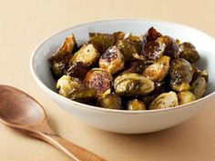 Roasted Brussels Sprouts Recipe : Ina Garten : Food Network ~ These are totally different from boiled brussel sprouts; these are actually DELICIOUS! Side Dish Recipes, Vegetable Recipes, Vegetarian Recipes, Cooking Recipes, Top Recipes, Chef Recipes, What's Cooking, Easy Recipes, Chicken Recipes