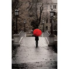 """Canvas Wall Art Black & White with Red Umbrella, 21.5"""" x 32.5"""" (I actually want this in the smaller print for around $11...saw it at my local store)"""