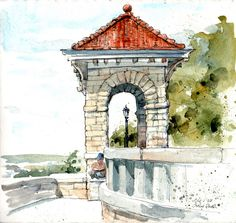 Case Park, overlooking the confluence of the Missouri and Kansas Rivers, CATHY JOHNSON, INK AND WATERCOLORS, KANSAS CITY, MISSOURI