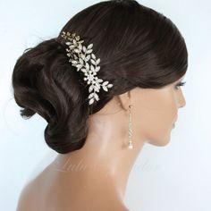 Wedding Hair Comb Crystal Leaf Comb Gold by LuluSplendor on Etsy