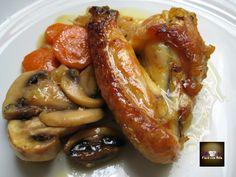 Alitas de Pollo con Champiñones y Zanahorias.