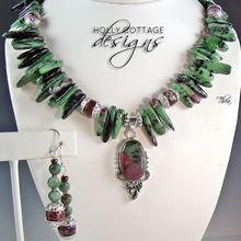 Ruby Zoisite pendant necklace with earrings from Holly Cottage Designs on Ruby Lane