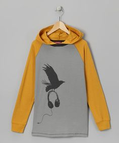 Tween boys Gray & Mustard Crow Thermal Hoodie - normally $36 on sale for $12.99 #gifts