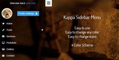 Buy Kappa Sidebar Menu by bogdancrisu on CodeCanyon. Kappa Sidebar Menu With 4 Color Scheme Features Easy to use Easy to change any color Easy to change icons 4 Color Sch. Kappa, Social Networks, Color Schemes, Cool Things To Buy, Menu, Special Promotion, Price Drop, Safari, Opera