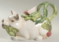Replacements, Ltd. Search: fitz & floyd teapot; white pig