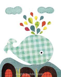 Whale Nursery print Nursery decor Nursery art by MuddyPuddlePrints