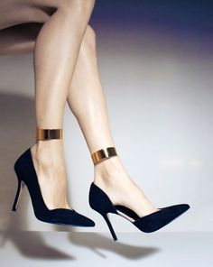Valentino black heels with gold ankle strap detail #Designer #Pumps