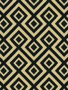 Groundworks Florentina vel Midnight $257.50 per yard #interiors #decor #geometric #fabrics #diamond #black #tan