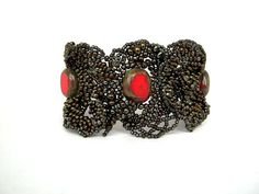 Beaded jewelry, beaded cuff bracelet, beadwork bracelet, freeform free form bracelet, seed bead bracelet, brown and red on Etsy, $80.00