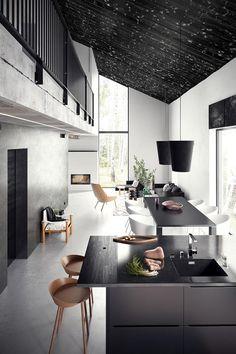 white interior, dining