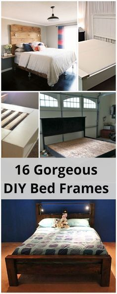 16 Gorgeous DIY Bed frames • Tutorials and lot's of ideas! -- check out the ones made of pallets!