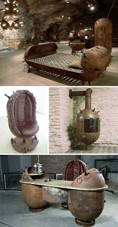 Estonian artist Mati Karmin has created a fantastic set of furniture built out of the decommissioned hulks of old naval mines. The bed, desk, and fireplace all seem comfortable enough, but it's hard to imagine anyone actually being comfortable in that chair.