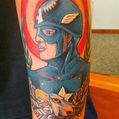 An American traditional take on Captain America. | 31 Marvel Tattoos That Will…