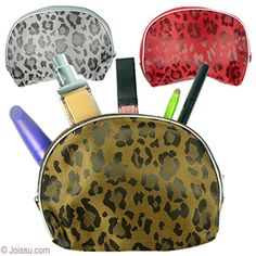 LEOPARD DAMASK WEAVE MAKEUP BAGS. These beautiful makeup pouches with a leopard pattern woven into the cloth and zipper closures are the most stylish cosmetics bags ever. The vinyl backing helps keep the contents dry. Perfect to keep in your purse or to use a travel toiletries pouch. Assorted colors. Each polybagged.  Size 7 X 5 Inches